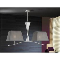 LAMPARA 2 LUCES DECO PLATA CON PANTALLAS