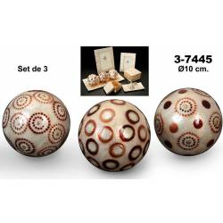 Set 3 bolas nacar decorado surtido circulos marron